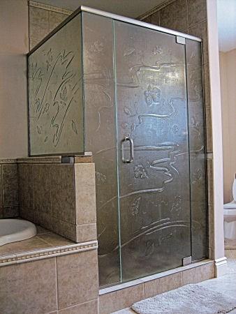 ... Pivot Mount Heavy Glass Shower Door W/ Inline Panel U0026 Return Panel ...